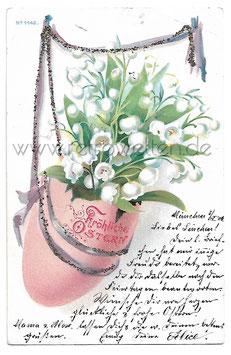 Alte Glitzer Postkarte FRÖHLICHE OSTERN Osterei mit Maiglöckchen 1901