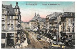 Alte Postkarte FRANKFURT AM MAIN Zeil von der Konstabler Wache, Straßenbahnen