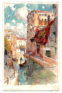 Alte Künstler Postkarte VENEDIG VENEZIA Rio San Trovaso, Gondoliere - 1913
