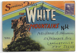 Altes Postkarten Leporello SOUVENIR FOLDER OF THE WHITE MOUNTAINS - NEW HAMPSHIRE, USA 1949
