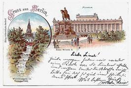 Alte Lithografie Postkarte GRUSS AUS BERLIN  Museum, Wassersturz im Victoria-Park, Denkmal 1898