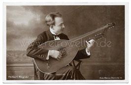 Alte Foto Postkarte LAUTENSPIELER  HERBERT WAGNER MIT THEORBE LAUTE, Chemnitz um 1915
