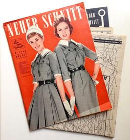 NEUER SCHNITT Vintage Nähzeitschrift Modezeitschrift Modemagazin mit Schnittmustern - August 1960