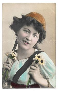 Alte Fotografie Postkarte  SCHÖNES MÄDCHEN MIT MARGERITEN, 1908