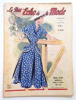 LE PETIT ECHO DE LA MODE alte Modezeitschrift Frauenzeitschrift - Heft Nr. 17 April 1951