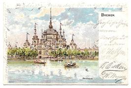 Alte Postkarte BREMEN Parkhaus im Bürgerpark und Holler See, 1899