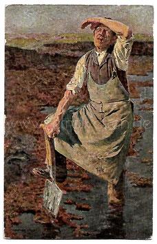 Alte Künstler Postkarte TORFSTECHER signiert Walter Firle, 1917