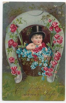 """Alte Lithografie Postkarte Neujahr """"EIN FROHES NEUES JAHR"""" Kind mit Zylinderhut, Hufeisen, Rosen, 1908"""
