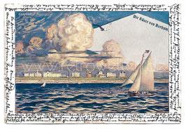Alte Lithografie Künstler Postkarte DIE KÜSTE VOR BORKUM, 1901
