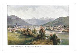 Alte Lithografie Künstler Postkarte TÖLZ in Oberbayern, signiert C. le Feubure - um 1900