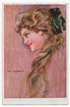 Alte Künstler Postkarte  SCHÖNE FRAU MIT LANGEN ROTEN HAAREN signiert De Godella 1922