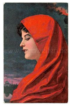 Alte Künstler Postkarte SILVIA - SCHÖNE FRAU MIT ROTEM KOPFTUCH signiert Wilhelm Hunger