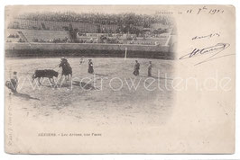 Alte Foto Postkarte BEZIEHERS Stierkampf in der Arena, 1901