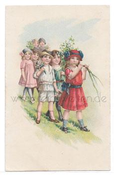 Alte Künstler Postkarte ELEGANTE KINDER MIT BLUMEN