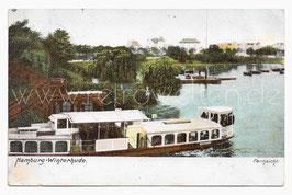 Alte Postkarte HAMBURG-WINTERHUDE Fernsicht, Alsterdampfer, Bootsstation 1912