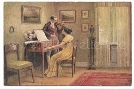 Alte Künstler Postkarte SEIN LIED Klavierspielerin & Geigenspieler im Duett,  signiert E. Schneider