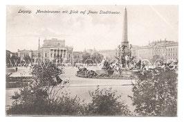 Alte  Postkarte LEIPZIG Mendebrunnen mit Blick auf Neues Stadttheater, um 1900