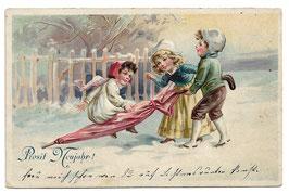 """Alte Lithografie Postkarte """"PROSIT NEUJAHR!"""" Kinder spielen mit großem Regenschirm, 1910"""
