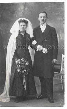 Alte Foto Postkarte HOCHZEIT elegantes Brautpaar um 1900