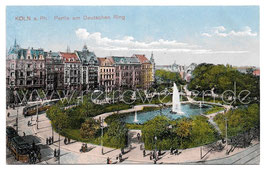 Alte Postkarte KÖLN Partie am Alten Ring mit Fontäne