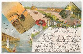 Alte Lithographie Postkarte VENEDIG VENEZIA LIDO Bagni di Mare Lido 1896
