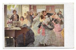 Alte Künstler Postkarte PAARE TANZEN IM SALON