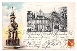 Alte Lithografie Postkarte BREMEN Gewerbehaus, Roland 1906