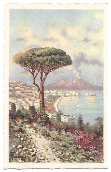 Alte Künstler Postkarte NEAPEL NAPOLI Panorama da Posillipo, Italien