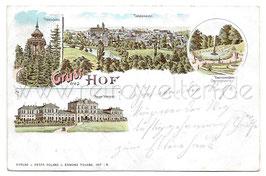 Alte Lithografie Postkarte GRUSS AUS HOF Thomashöhe, Totalansicht, Neuer Bahnhof, Theresienstein - 1900