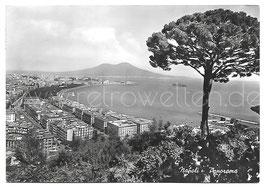 Alte Postkarte NEAPEL NAPOLI - Panorama mit Vesuv, Italien 1961