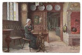 Alte Künstler Postkarte AM SPINNRAD Frau in der Küche spinnt Wolle, Robert Panitzsch 1921