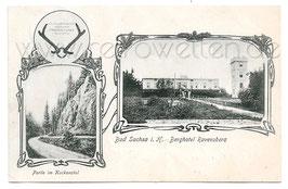 Alte Postkarte BAD SACHSA Berghotel Ravensberg, Partie im Kuckanstal - 1906