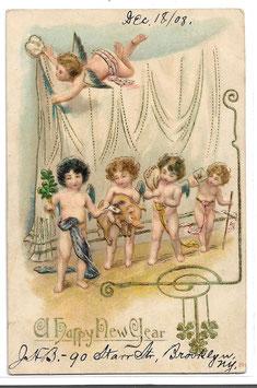"""Alte Lithografie Postkarte Neujahr """"A HAPPY NEW YEAR"""" Engel, Glücksklee, Geldsack, Brief, Glücksschwein, 1908"""