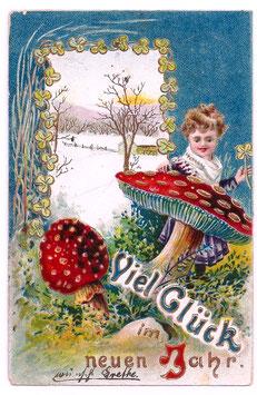 """Alte Lithografie Postkarte """"VIEL GLÜCK IM NEUEN JAHR """" Mädchen mit Glücksklee, Fliegenpilze, Winterlandschaft 1907"""
