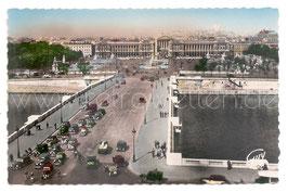 Alte Foto Postkarte PARIS - Brücke und Place de la Concorde mit Oldtimer Autos