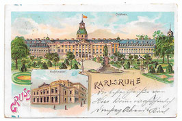 Alte Lithografie Postkarte GRUSS AUS KARLSRUHE Schloss, Hoftheater 1901