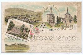 Alte Lithografie Postkarte GRUSS AUS OLSBERG Astenberger Turm, Kirche, Heilanstalt, Olsberg - 1902