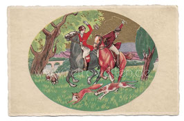 Alte Künstler Postkarte REITER AUF DER FUCHSJAGD