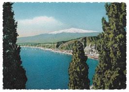 Alte Foto Postkarte TAORMINA Panorama mit Ätna Vulkan - 1950er Jahre