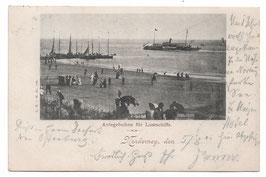 Alte Postkarte NORDERNEY Anlegebuhne für Lustschiffe - 1901
