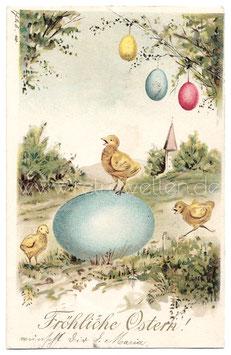 Alte Präge-Postkarte FRÖHLICHE OSTERN Küken mit großem Osterei, 1904