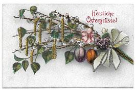 Alte Postkarte OSTERN - HERZLICHE OSTERGRÜSSE Weidenkätzchenstrauß und Ostereier