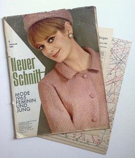 NEUER SCHNITT Vintage Nähzeitschrift Modezeitschrift Modemagazin mit Schnittmusterbögen - Juni 1962