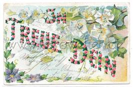 """Alte Präge Postkarte ROSENGIRLANDE MIT LIEBESSPRUCH  """"IN TREUE DEIN"""""""