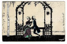 Alte Künstler Scherenschnitt Postkarte LIEBESPAAR IN DER GARTENLAUBE