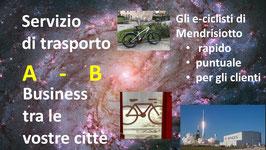 e-bike TRA LE CITTA': BUSINESS Servizi di trasporto: Raccolta (tutte le spedizioni) e consegna con e-bike tra le città