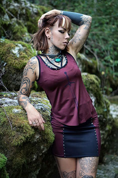 FEARLESS BLADE Wine Red Top and Skirt
