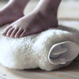 Wärmflasche mit Schaf-Fell weiss natur