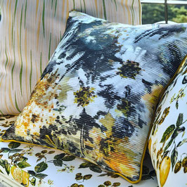 SICILIA*Outdoor Stoff Meterware Blumen gelb fabric enplein air JAB