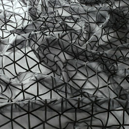 SUE*Meterware Stoff fabric tissu Voile schwarz Stickerei Jab